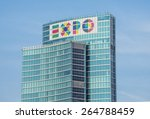 Small photo of Milan ( Italy ) 06/06/2014: The symbol of the EXPO 2015 on the New Regional Palace of Milan in Milano Porta Nuova Area. It is one of highest places in the city and is visible from allover the town.