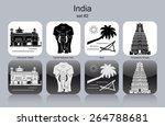 landmarks of india. set of...