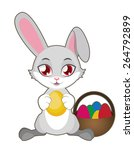 easter bunny with colorful eggs | Shutterstock .eps vector #264792899