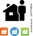 man standing next to a house... | Shutterstock .eps vector #264794804