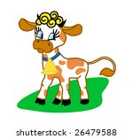 the cheerful spotty cow on a... | Shutterstock . vector #26479588