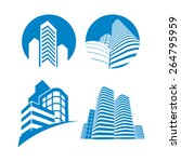 collection of four blue office... | Shutterstock .eps vector #264795959