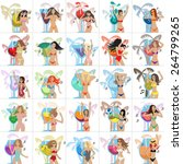 flat party girls set  vector... | Shutterstock .eps vector #264799265