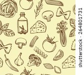 hand drawn italian pasta... | Shutterstock . vector #264801731
