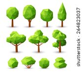 set polygonal trees and bushes... | Shutterstock .eps vector #264823037