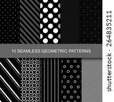10 dark geometric seamless...   Shutterstock .eps vector #264835211