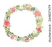 watercolor wreath with roses... | Shutterstock .eps vector #264837479