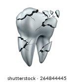 Broken Tooth Dental Symbol And...