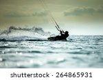 kitesurfing  kiteboarding... | Shutterstock . vector #264865931