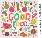lovely good food concept card... | Shutterstock .eps vector #264874481