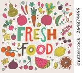 lovely fresh food concept card... | Shutterstock .eps vector #264874499