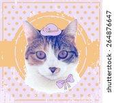vector vintage cat in the hat...   Shutterstock .eps vector #264876647