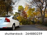 Car In Autumn Forest