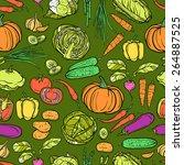 vegetables seamless pattern...   Shutterstock .eps vector #264887525