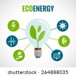 eco energy solution flat round  ... | Shutterstock .eps vector #264888035