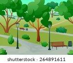 summer park alley 2d game... | Shutterstock .eps vector #264891611