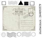 vector vintage postcard with... | Shutterstock .eps vector #264893579