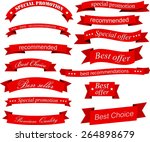 set of red banners and ribbons. ... | Shutterstock .eps vector #264898679
