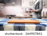 Kitchen Interior And Woman With ...