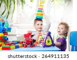 two happy child sitting at the...   Shutterstock . vector #264911135