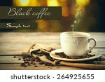 cup of coffee on table on... | Shutterstock . vector #264925655