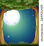 forest at night with fullmoon... | Shutterstock .eps vector #264931439