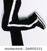 Model In Sportswear. Black And...