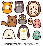 adorable wild animal character  ... | Shutterstock .eps vector #264942629