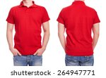 young man with red polo shirt... | Shutterstock . vector #264947771