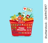supermarket shopping basket... | Shutterstock .eps vector #264947897