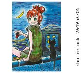 ������, ������: Art Print Anime girl