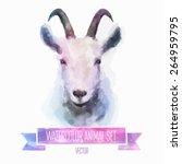 Vector Set Of Animals. Goat...