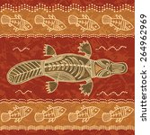 platypus and fish  a tribal... | Shutterstock .eps vector #264962969