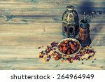 raisins and dates on wooden... | Shutterstock . vector #264964949