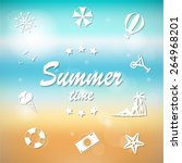 summer travel and vacation icon ... | Shutterstock .eps vector #264968201
