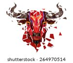 low polygon red bull head with...