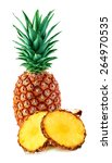 pineapple with slices isolated... | Shutterstock . vector #264970535