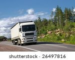white truck on summer highway... | Shutterstock . vector #26497816
