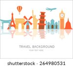 travel and flights background... | Shutterstock .eps vector #264980531