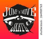 vector skateboarding emblem.... | Shutterstock .eps vector #264989765