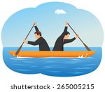 businessmen in the boat are... | Shutterstock .eps vector #265005215