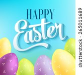 happy easter typography on blur ... | Shutterstock .eps vector #265011689