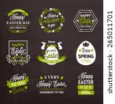 easter labels and badges on... | Shutterstock .eps vector #265011701