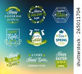 easter labels and badges on... | Shutterstock .eps vector #265011704