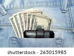American Dollar Bills In Jeans...