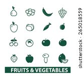 fruits  vegetables icons  signs ... | Shutterstock .eps vector #265018559