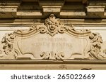 Small photo of Baroque stucco moulding. Wall medallion alto-relievo of an old european building