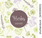 seamless vintage pattern with... | Shutterstock .eps vector #265030031
