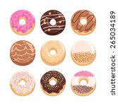 yummy donuts collection vector... | Shutterstock .eps vector #265034189