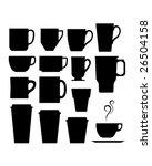 A set of vector silhouettes of coffee and beverage mugs and cups. - stock vector
